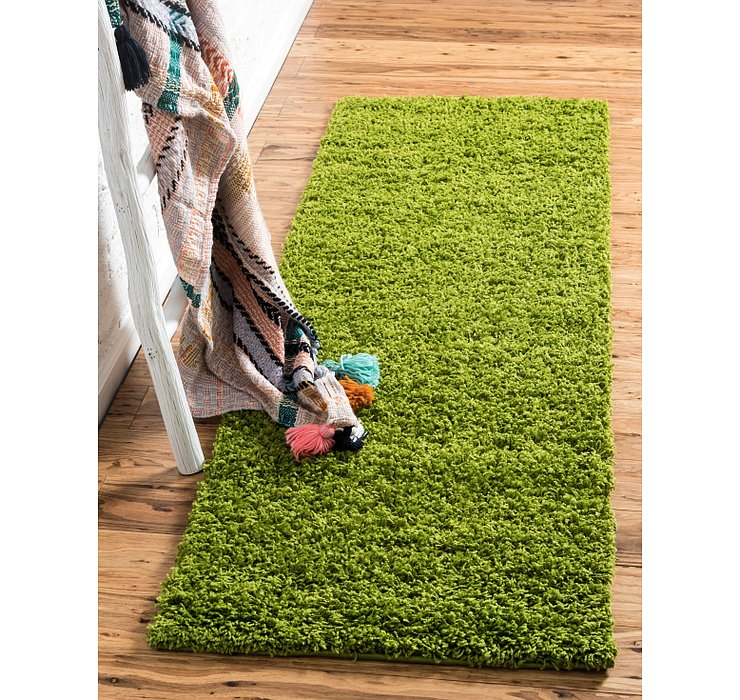 Grass Green Solid Shag Runner Rug