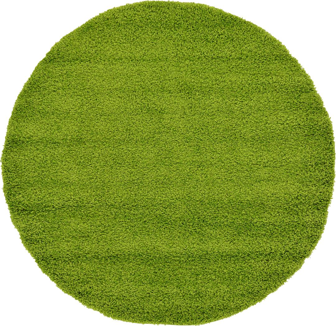 Grass Green 183cm X 183cm Solid Shag Round Rug Area Rugs