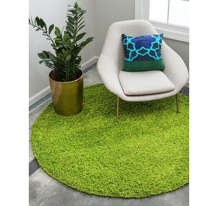 Grass Green Solid Shag Round Rug