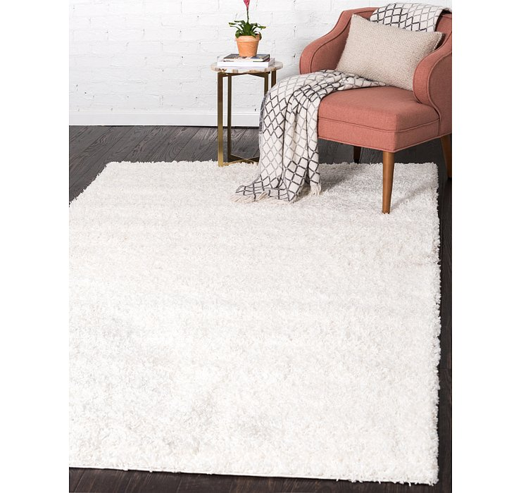 Snow White Solid Shag Rug
