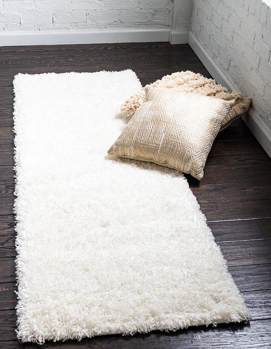 Snow White 75cm X 395cm Solid Shag Runner Rug Area Rugs