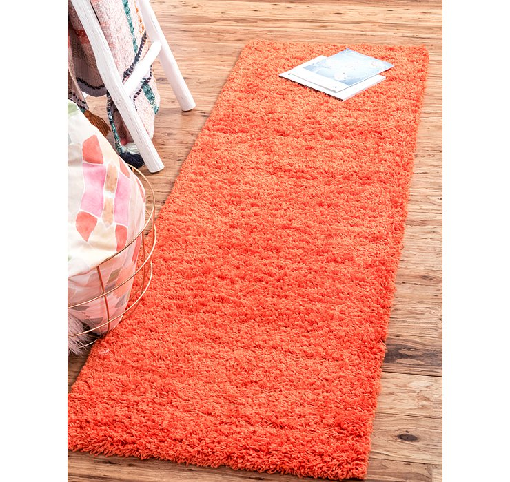 Tiger Orange Solid Shag Runner Rug