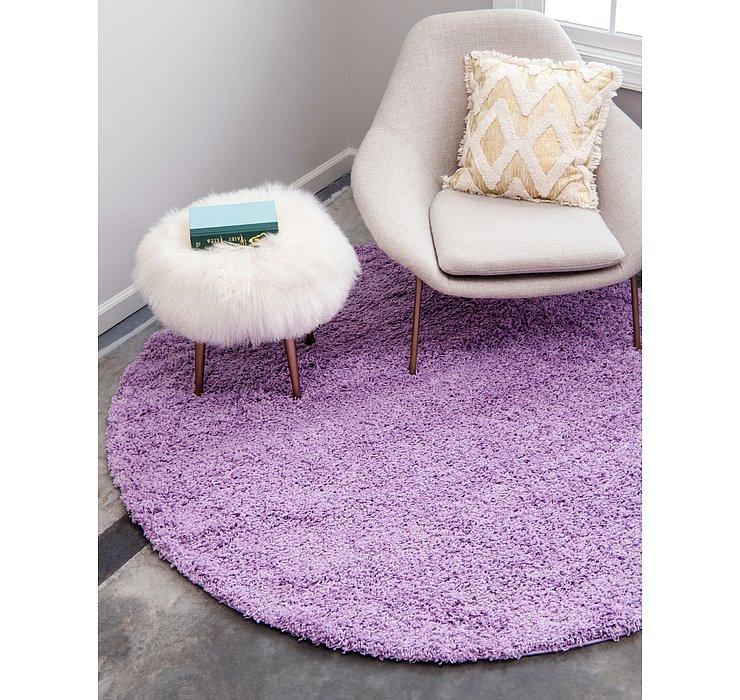 Lilac Solid Shag Round Rug