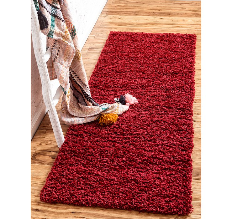 Cherry Red Solid Shag Runner Rug