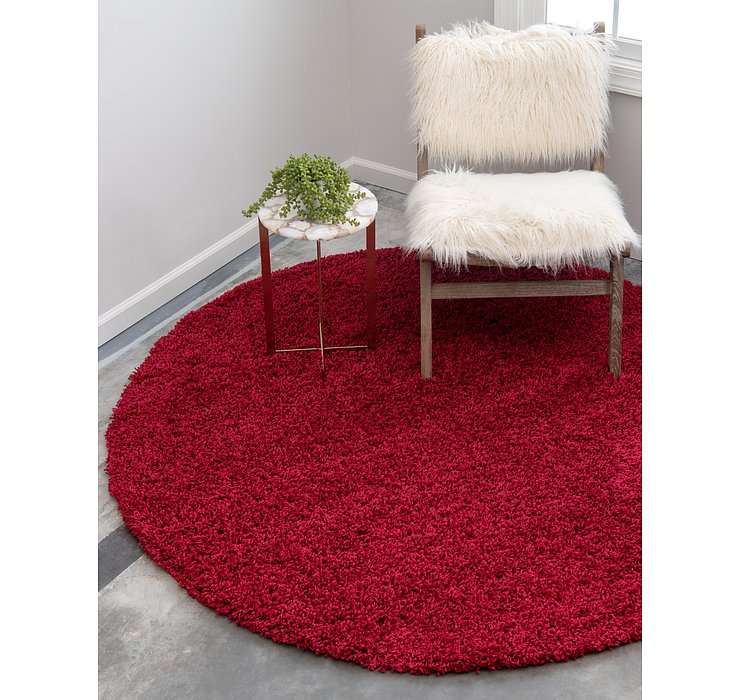 Cherry Red Solid Shag Round Rug
