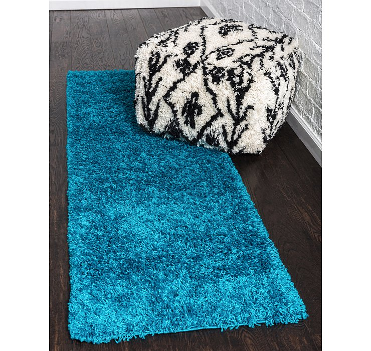 Turquoise Solid Shag Runner Rug