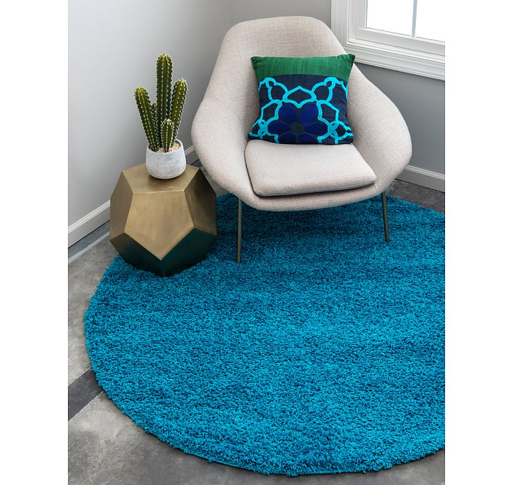 Turquoise Solid Shag Round Rug