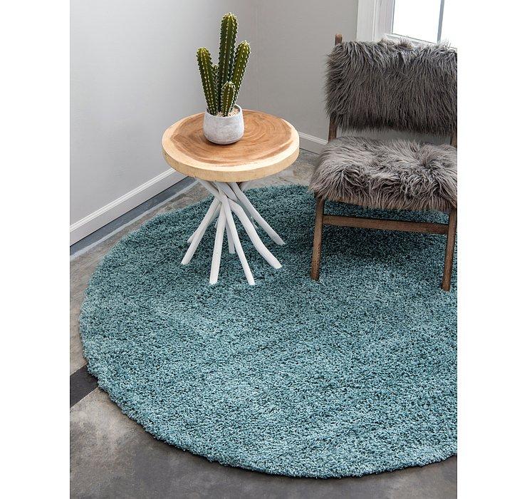 Light Slate Blue Solid Shag Round Rug