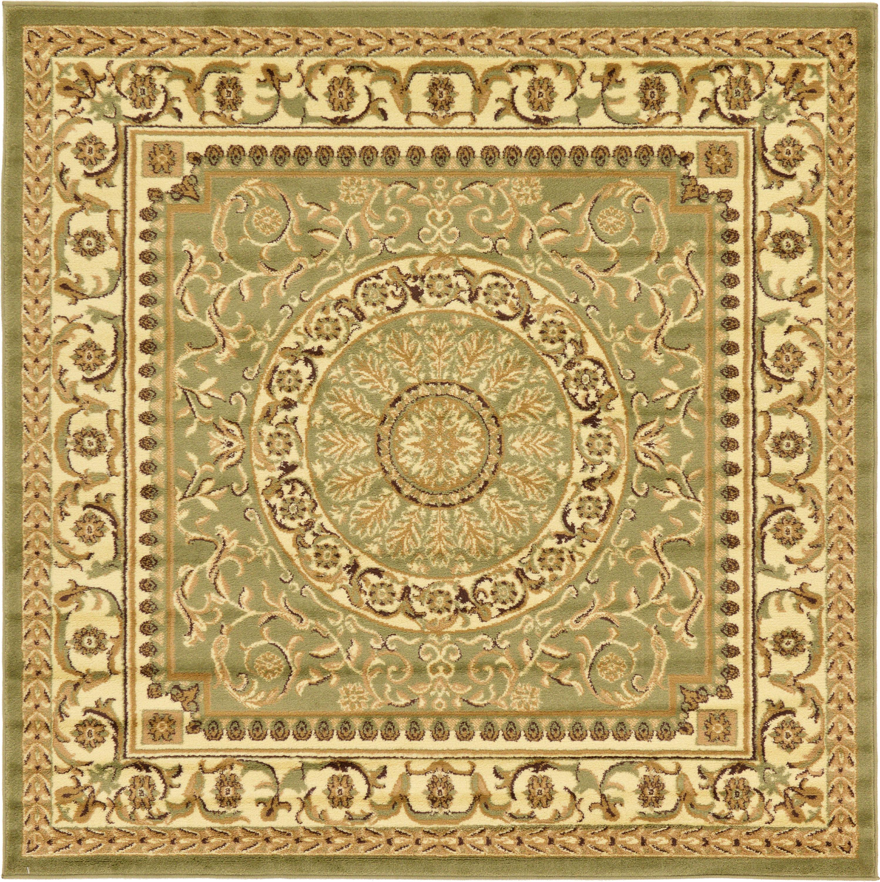 Light Green 6 X 6 Classic Aubusson Square Rug Irugs Uk