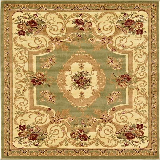 Green 6 X 6 Classic Aubusson Square Rug Area Rugs