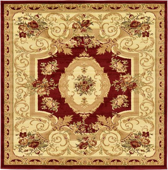 Red 6 X 6 Classic Aubusson Square Rug Area Rugs Esalerugs