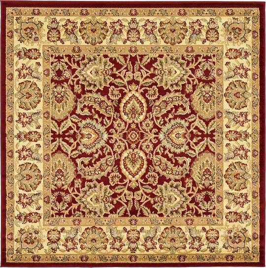 Red 6 X 6 Classic Agra Square Rug Area Rugs Esalerugs