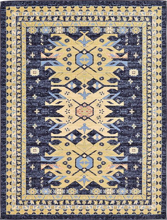 Navy Blue 9 x 12 Heriz Design Rug Area Rugs