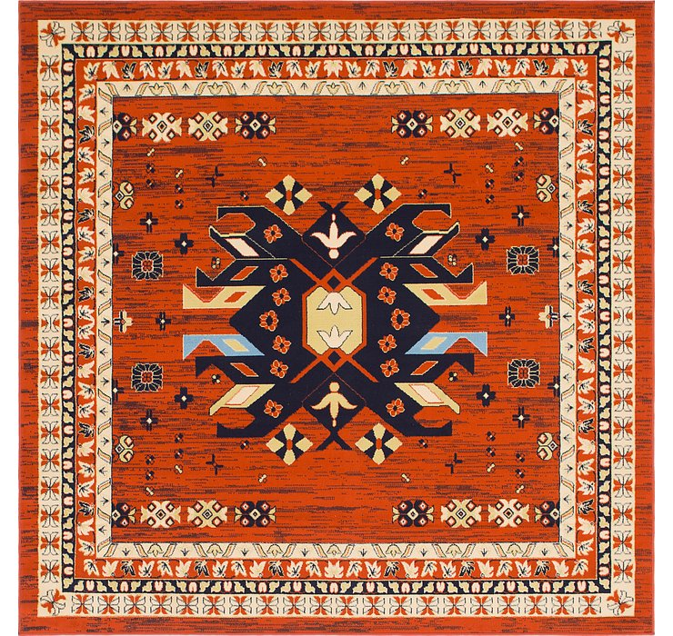 Terracotta Heris Square Rug