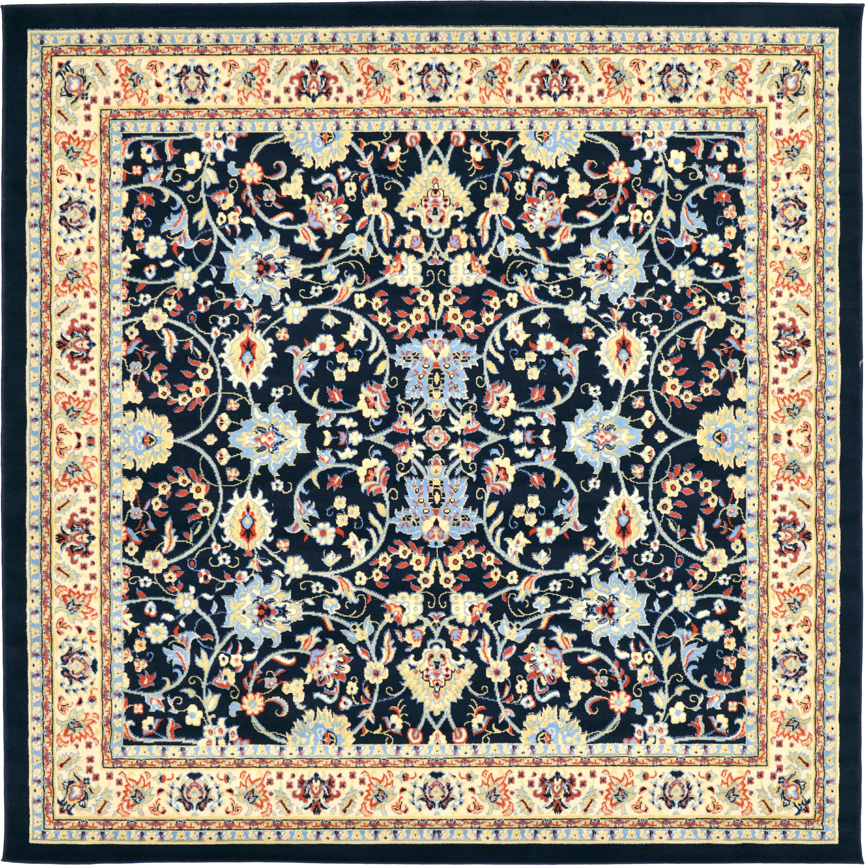 7e603a5aaf2 Navy Blue 8  x 8  Kashan Design Square Rug