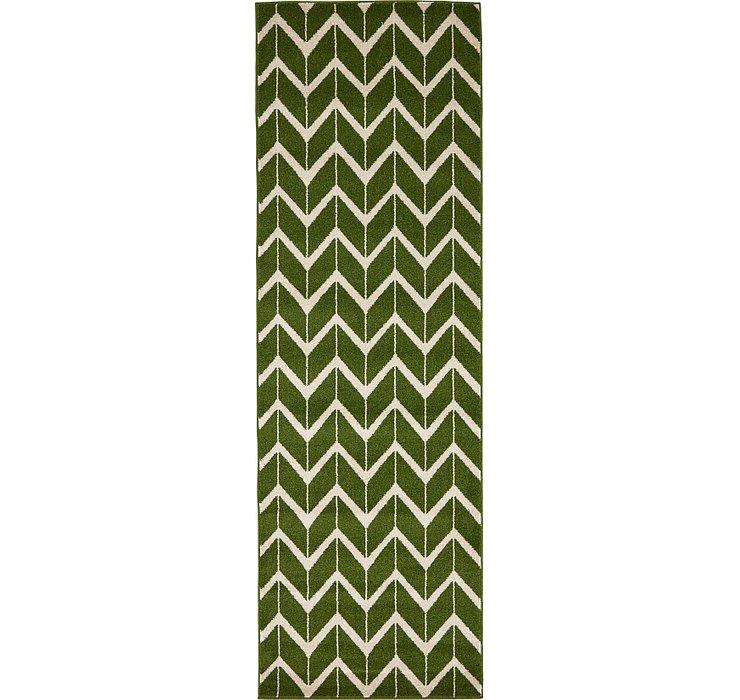 Green Chevron Runner Rug