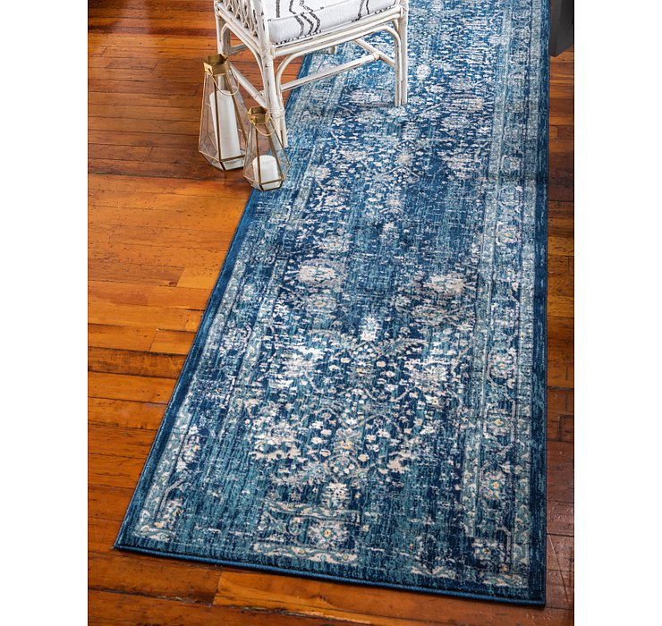 Navy Blue Dahlia Runner Rug