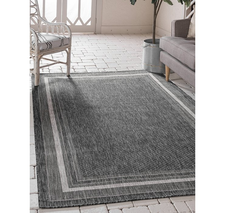 Black Outdoor Border Rug