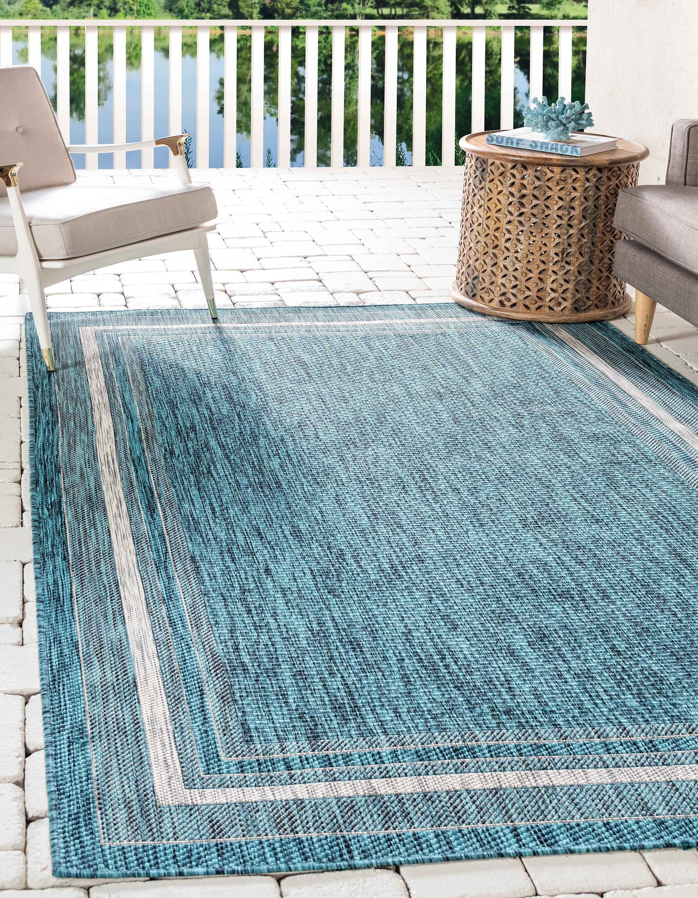 Teal 7 X 10 Outdoor Border Rug Rugs Com