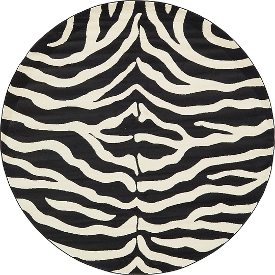 Black 245cm X 245cm Safari Round Rug