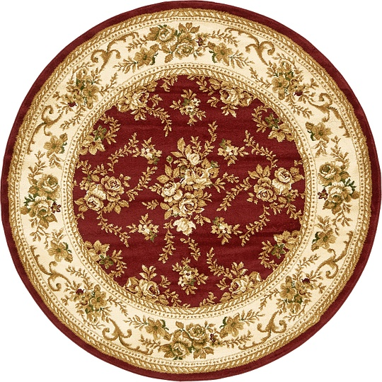Burgundy 5 X 5 Classic Aubusson Round Rug Area Rugs