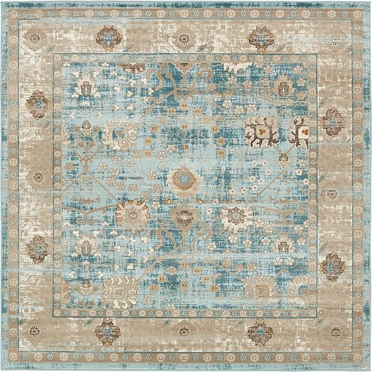 Light Blue 183cm X 183cm Montreal Square Rug Area Rugs