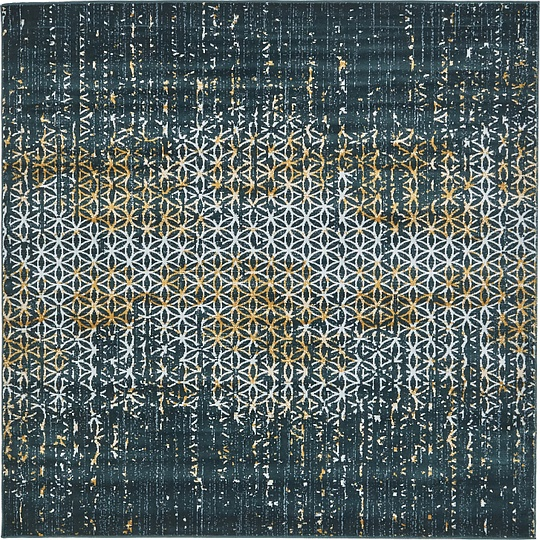 Teal 6' X 6' Mirage Square Rug