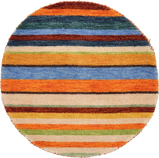 Shop Oriental Persian Gabbeh Shades Of Orange Hand Knotted: Multi 2' 4 X 2' 4 Indo Gabbeh Round Rug