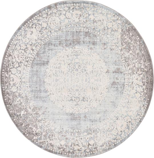 Light Blue 183cm X 183cm New Vintage Round Rug Area Rugs