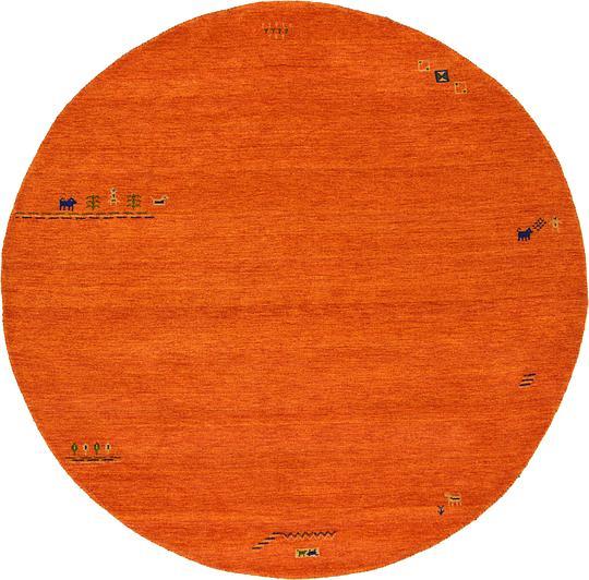 Shop Oriental Persian Gabbeh Shades Of Orange Hand Knotted: Orange 8' X 8' Indo Gabbeh Round Rug