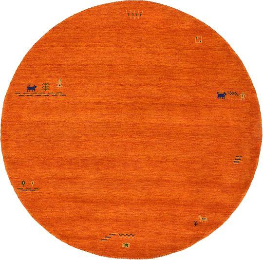 Shop Oriental Persian Gabbeh Shades Of Orange Hand Knotted: Orange 6' 6 X 6' 6 Indo Gabbeh Round Rug