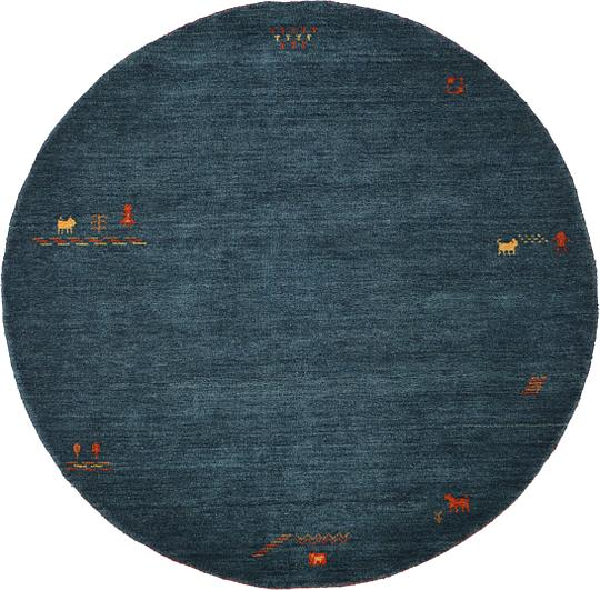 Shop Oriental Persian Gabbeh Shades Of Orange Hand Knotted: Teal 198cm X 198cm Indo Gabbeh Round Rug