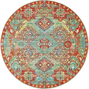 All Rounds Green Vintage  Rugs