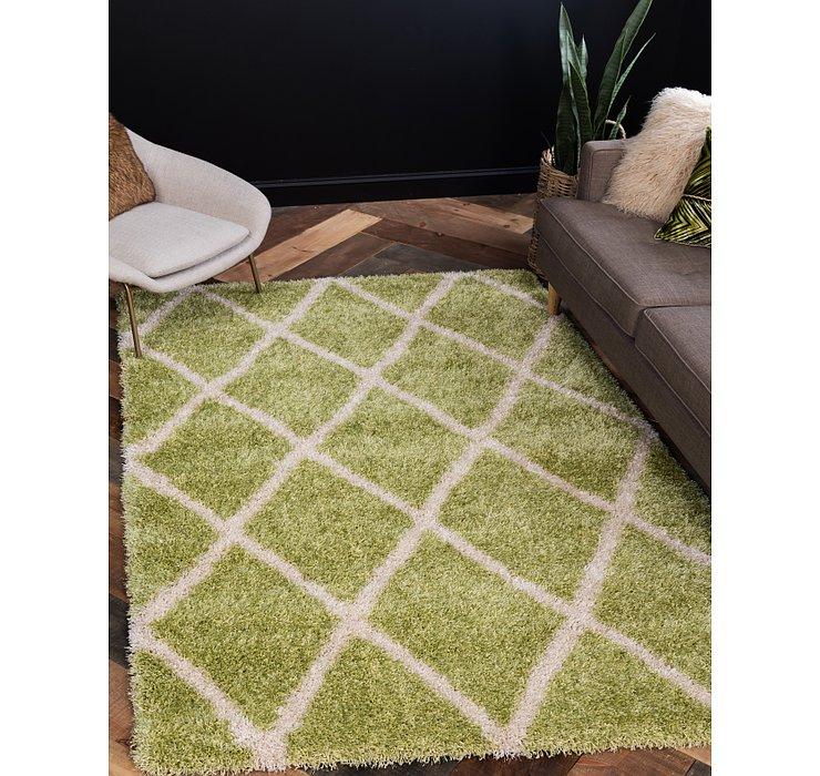 Light Green Luxury Trellis Shag Rug