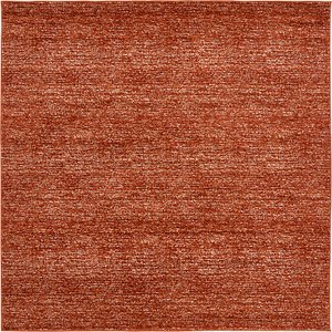 All Squares Orange Solid Frieze  Rugs