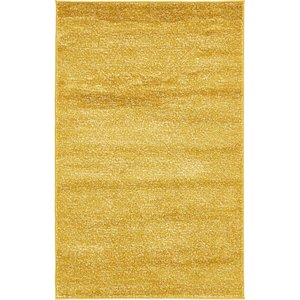 4x6 Yellow Solid Frieze  Rugs