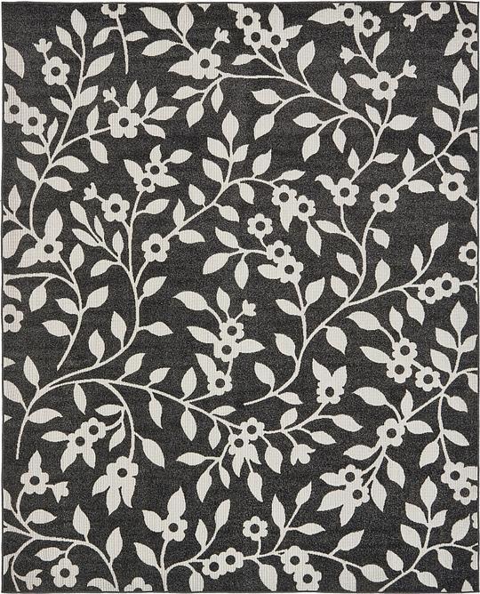 Black 8 39 x 10 39 transitional indoor outdoor rug area rugs for Indoor outdoor rugs uk