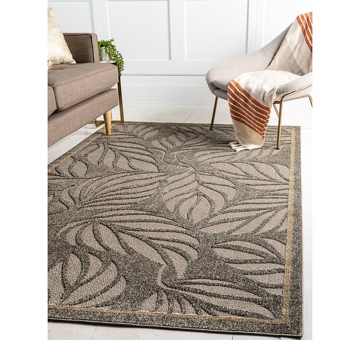 Gray Outdoor Botanical Rug