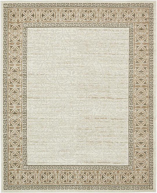 Cream 8 39 x 10 39 transitional indoor outdoor rug area rugs for Indoor outdoor rugs uk