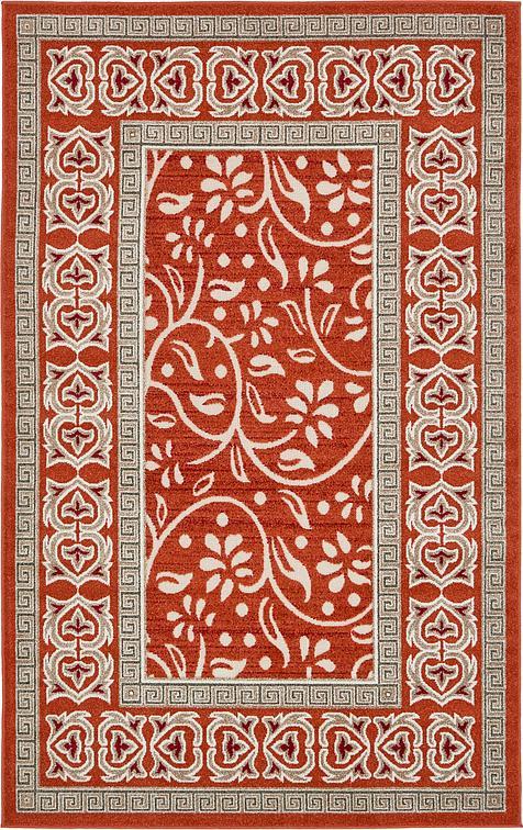 Rust red 5 39 x 8 39 transitional indoor outdoor rug area for Indoor outdoor rugs uk