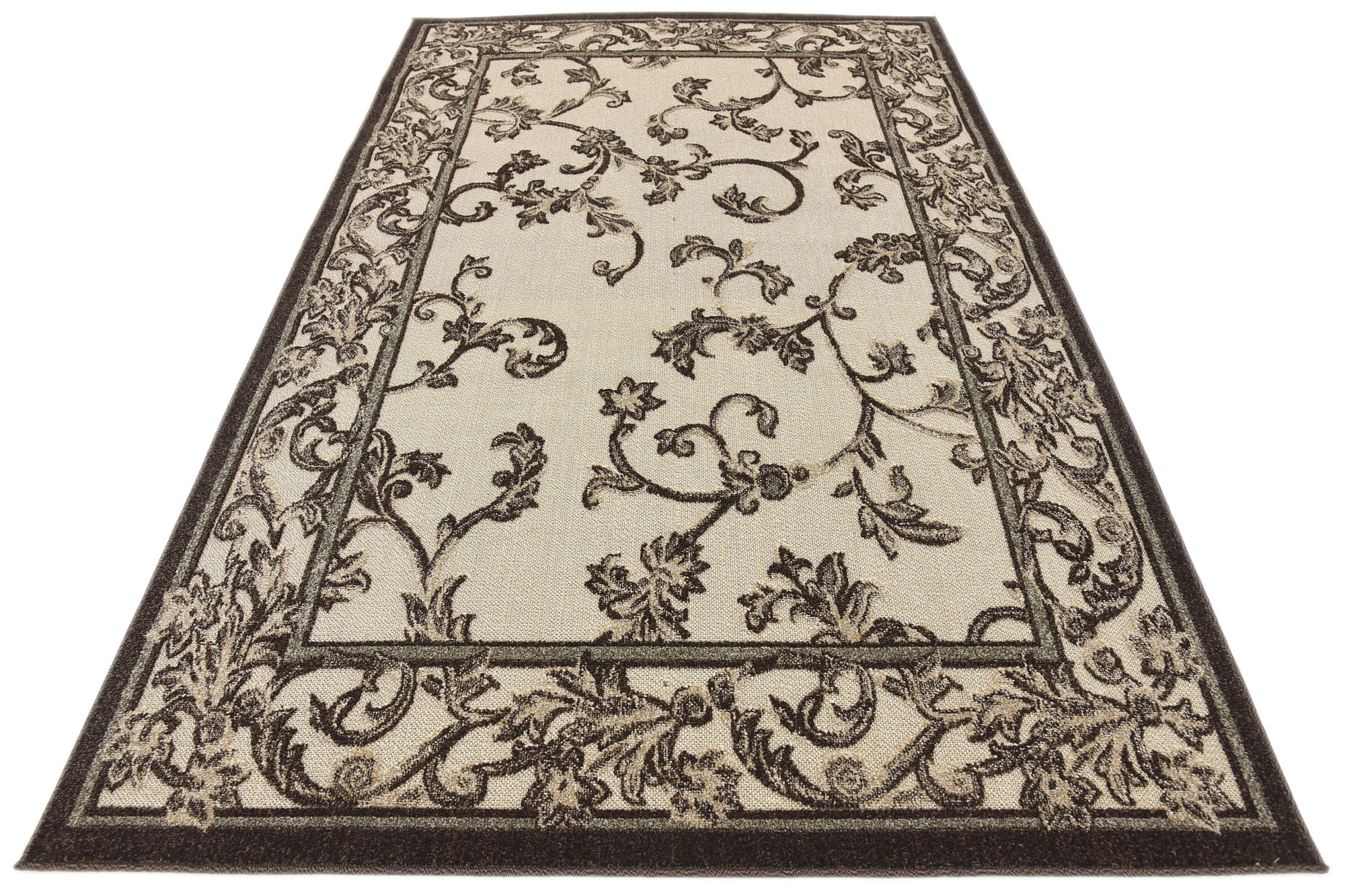 Indoor Outdoor Rug Beige Small Floral Carpet Carved