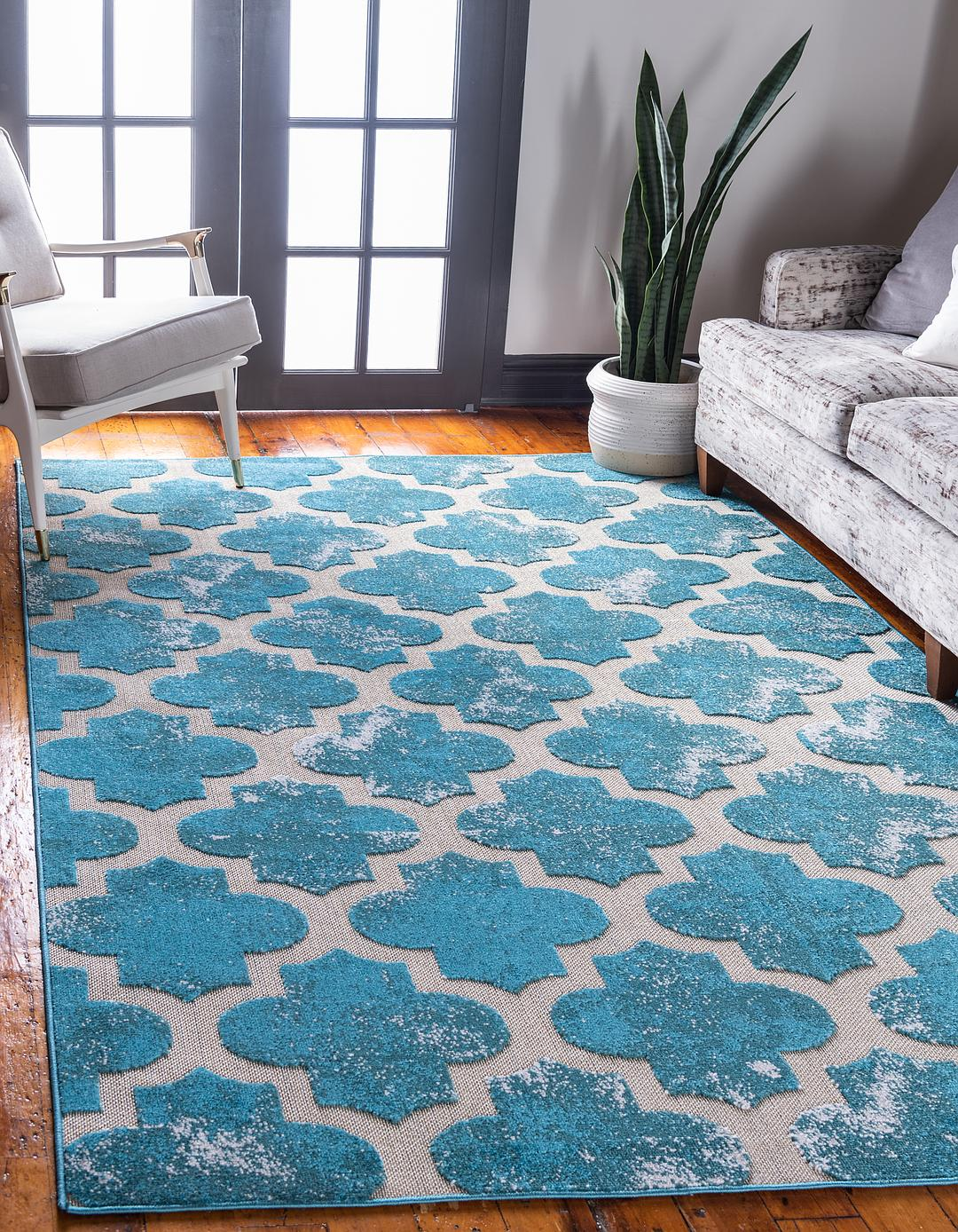 Turquoise 8 X 10 Outdoor Trellis Rug Area Rugs Rugs Ca