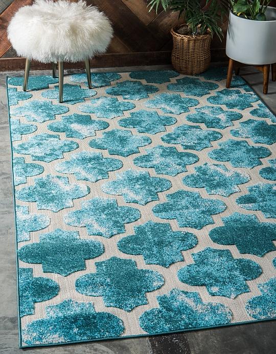 turquoise 6 39 x 9 39 outdoor trellis rug area rugs irugs uk. Black Bedroom Furniture Sets. Home Design Ideas