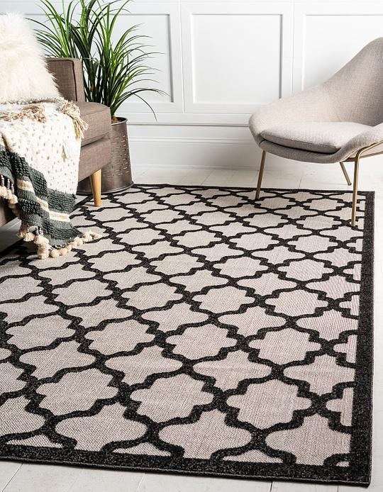 black 8 39 x 10 39 outdoor trellis rug area rugs irugs uk. Black Bedroom Furniture Sets. Home Design Ideas