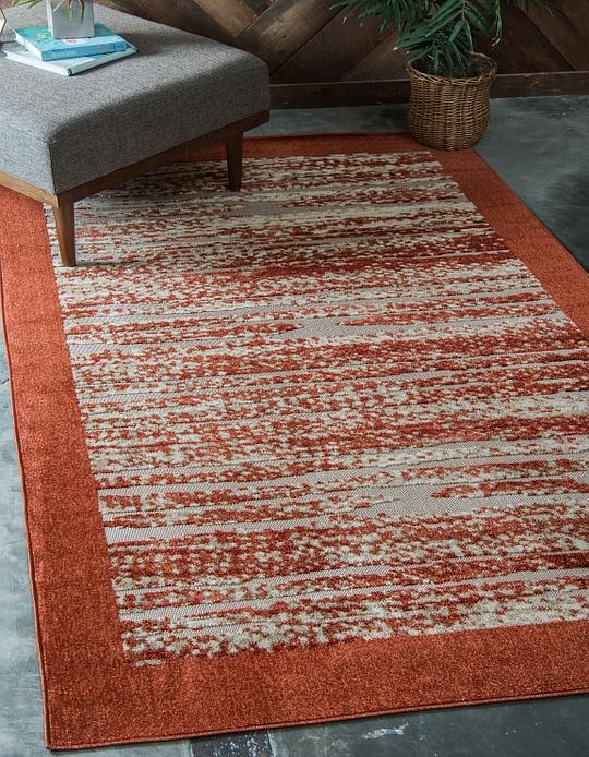 terracotta 9 39 x 12 39 outdoor modern rug area rugs esalerugs. Black Bedroom Furniture Sets. Home Design Ideas