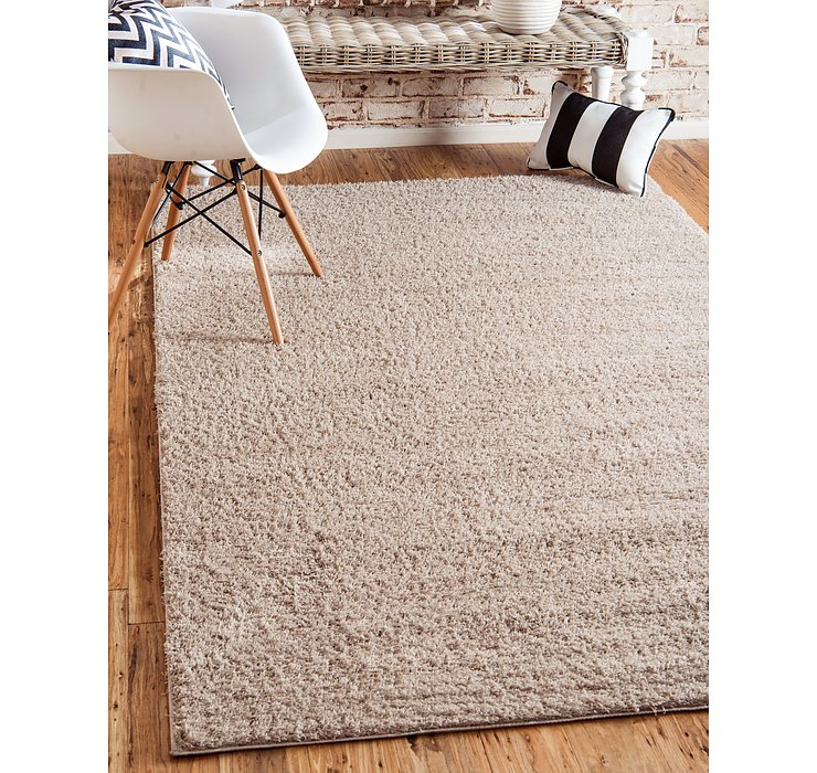 Taupe Solid Shag Rug