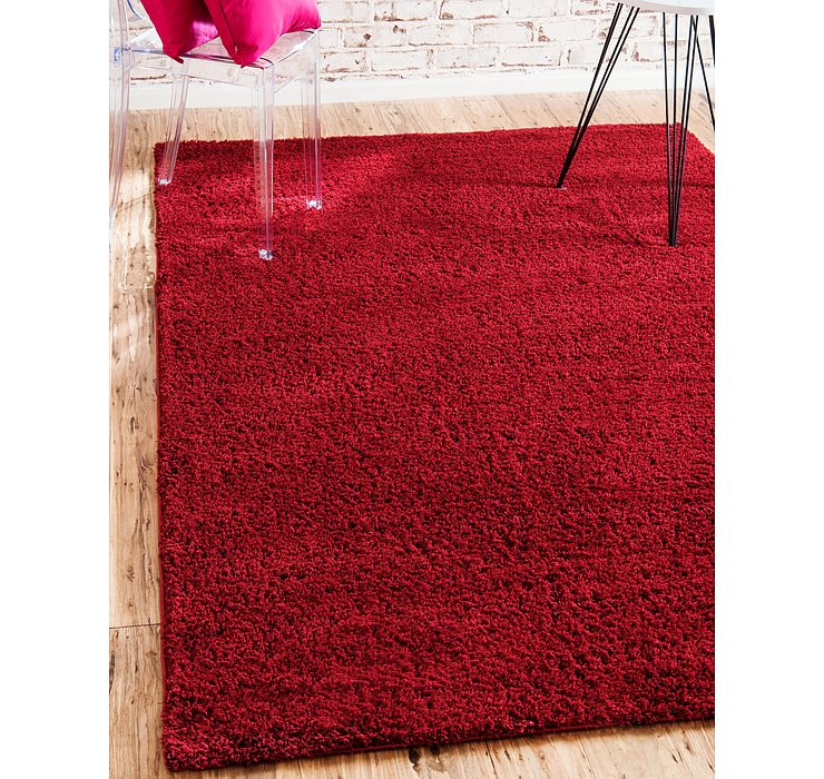 Red Solid Shag Rug