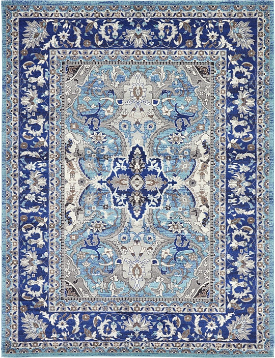 Blue 9 39 x 12 39 heritage rug area rugs esalerugs for Living room rugs 9x12
