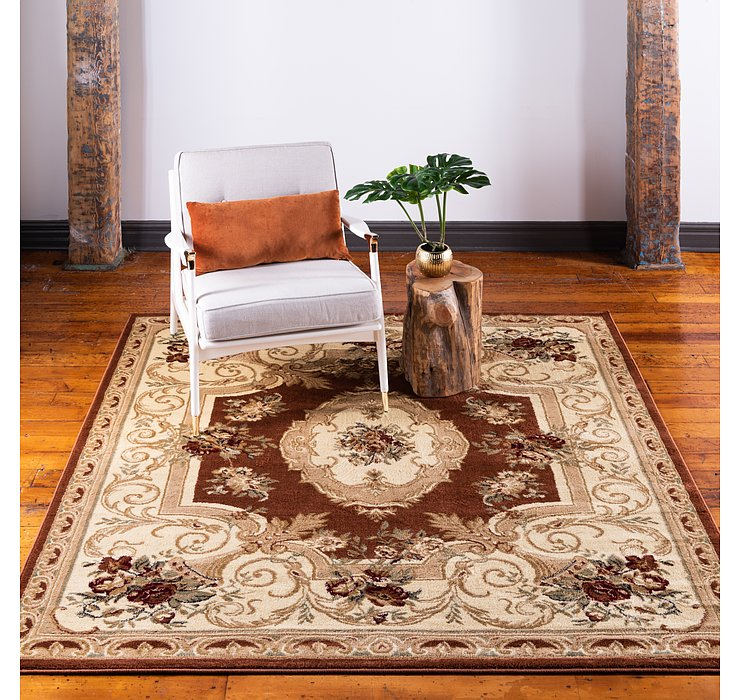 Brick Red Chateau Square Rug