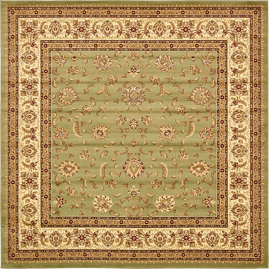 Green 10' X 10' Classic Agra Square Rug